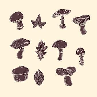 Champignons isolés et feuilles d'automne image monochrome
