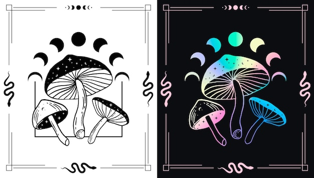 Champignons magiques et phases de lune pour les conceptions de thèmes ésotériques