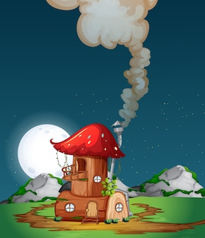 Champignons maison en bois dans la nature
