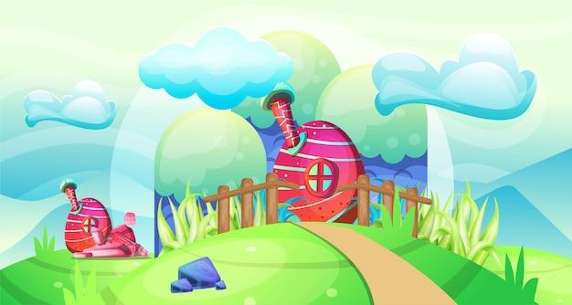Champignons maisons dans l'illustration de jardin
