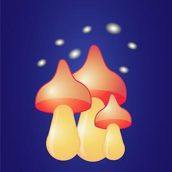 Champignons rouges brillants fantastiques sur fond sombre