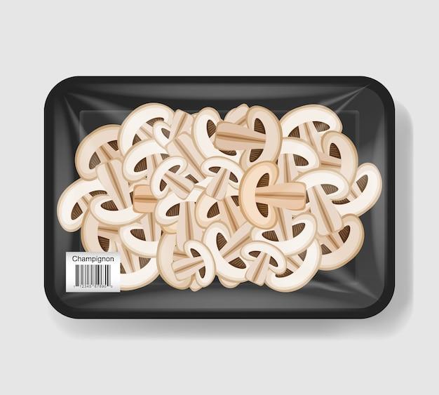 Champignons tranchés dans un récipient en plastique avec couvercle en cellophane. récipient de nourriture en plastique. illustration.