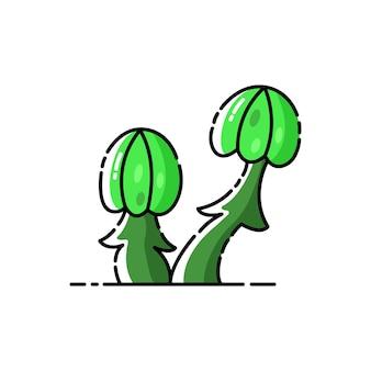 Champignons vénéneux mystiques verts sur fond isolé blanc