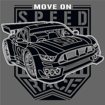 Champion de voiture de course, illustration de voiture de vecteur