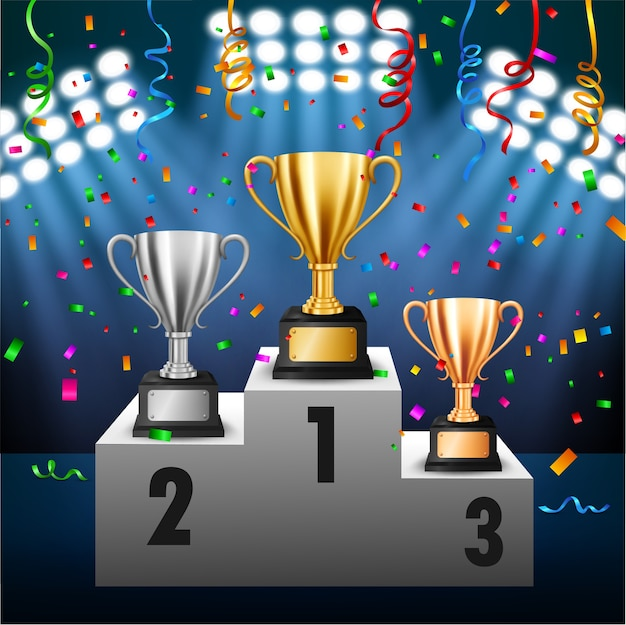 Championnat avec 3 trophées sur podium