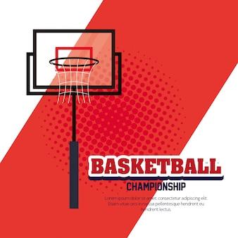 Championnat de basket-ball, emblème, conception de basket-ball et panier à cerceau
