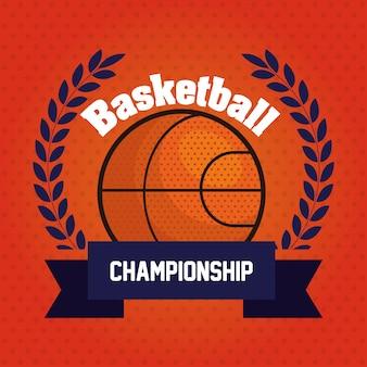 Championnat de basket-ball, emblème, design avec ballon de basket, avec décoration de ruban