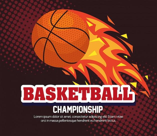 Championnat de basket-ball, emblème, design avec ballon de basket, flamme avec ballon