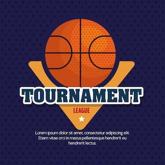 Championnat de basket-ball de ligue, emblème, design avec ballon de basket