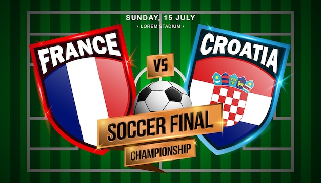 Championnat de football final entre la france et la croatie