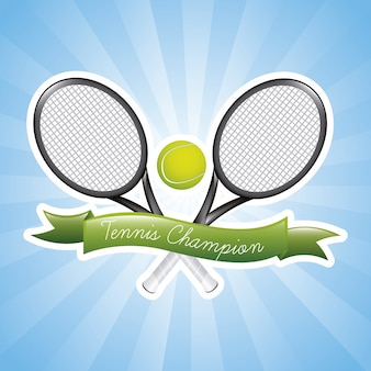 Champions de tennis sur illustration vectorielle fond bleu