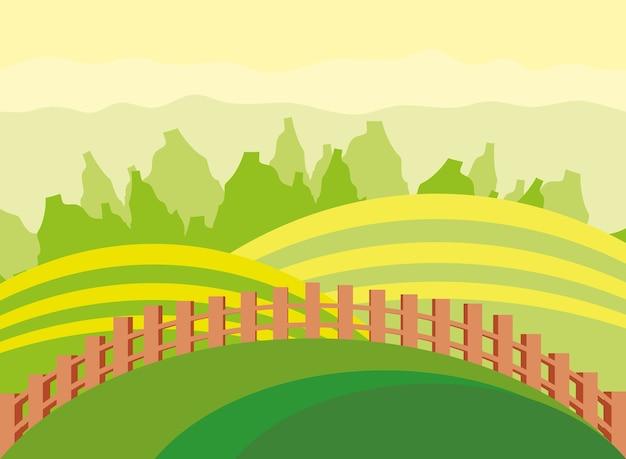 Champs agricoles paysagers avec clôture en bois et arbres nature
