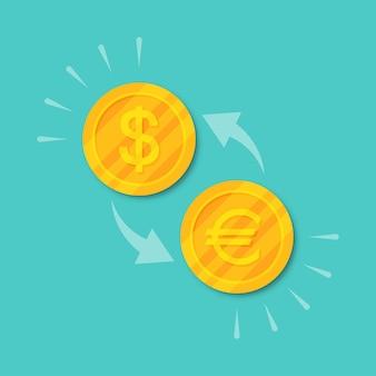 Change de devise dollar en euro. argent de pièces d'or