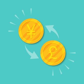 Change de devise livre en yuan ou en yen. argent de pièces d'or