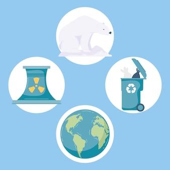 Changement climatique quatre icônes