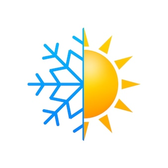Changement climatique. symbole du soleil et du flocon de neige. illustration vectorielle