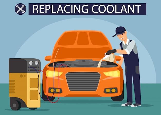 Changement de fluide dans la voiture.