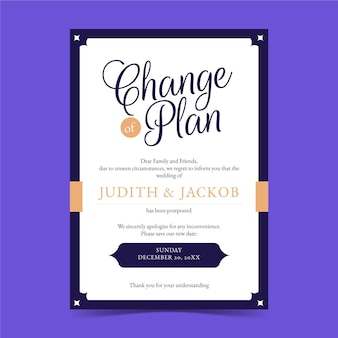 Changer le plan de la carte de mariage reportée typographique