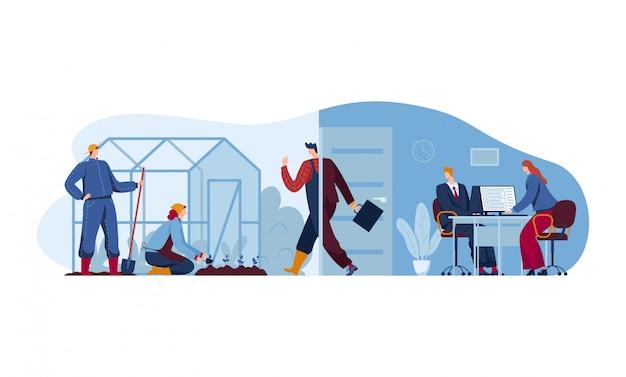 Changer la position de vie, ferme de travail de caractère homme d'affaires de bureau isolé sur blanc, illustration de dessin animé. parcelle de pays concept.