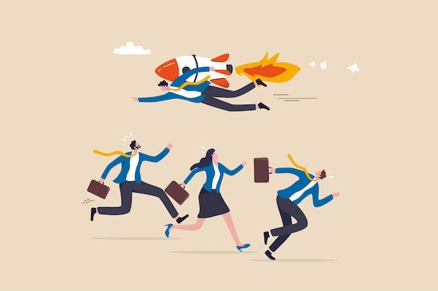 Changeur de jeu, moyen unique de gagner la concurrence commerciale, être différent et créativité comme avantage pour gagner le concept, homme d'affaires volant avec un jetpack de fusée dans des directions différentes des autres concurrents.