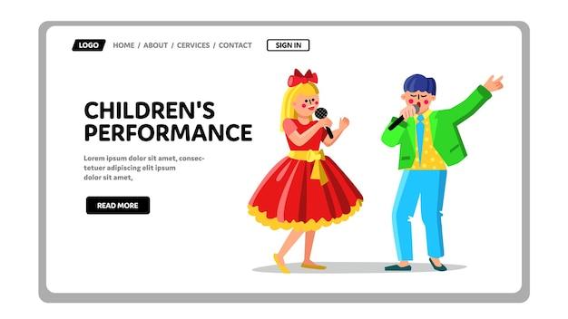 Chanson de performance pour enfants dans le microphone