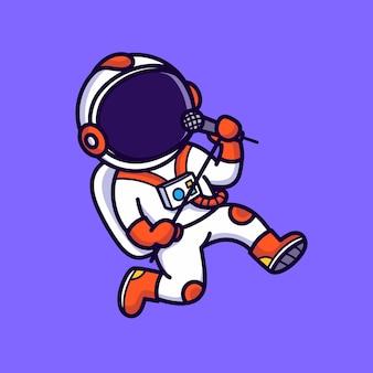 Chant astronaute mignon isolé sur violet