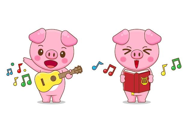 Chant de porc mignon et jouer de la guitare isolé