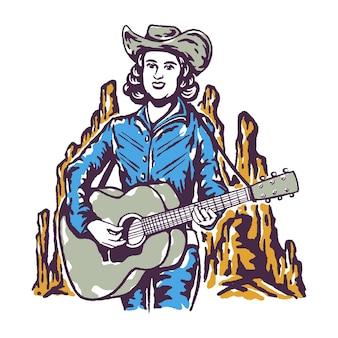 Chanteur country jouant de la guitare illustration