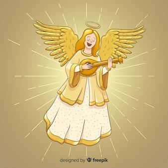 Chanteur doré fond noël ange