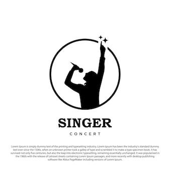 Chanteur logo silhouette chanteur logo design illustration vectorielle