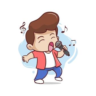 Le chanteur mignon chante illustration