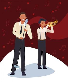 Chanteur et trompettiste de dessin animé, groupe de musique jazz