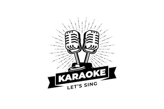 Chanteur vocal karaoké ou logo de la station de podcast avec microphone rétro conception pour l'emblème de l'étiquette du logo