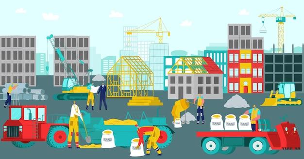 Chantier de construction. construire des travaux de maison, industrie du bâtiment avec fond de travailleur