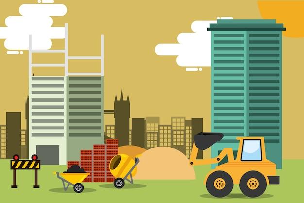 Chantier de construction avec des équipements de machines et outils vector illustration