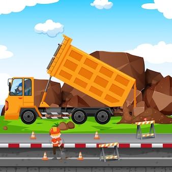 Chantier de construction avec homme et tracteur