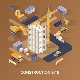 Chantier De Construction Isométrique Vecteur gratuit