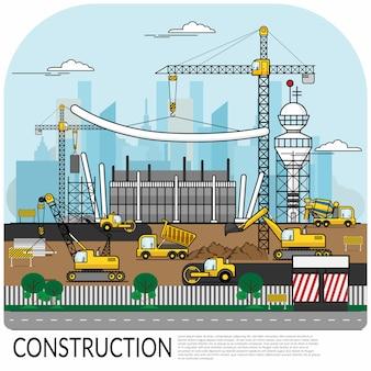 Chantier de construction occupé avec des travailleurs