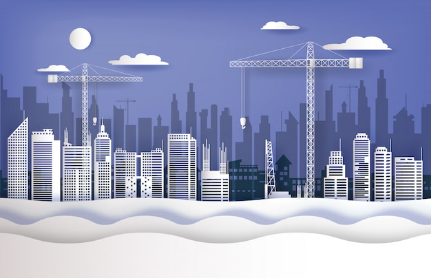 En chantier et grues dans la ville