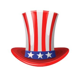 Chapeau américain avec des étoiles en forme de cylindre.