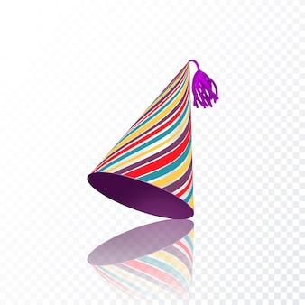 Chapeau d'anniversaire avec texture de rayures colorées