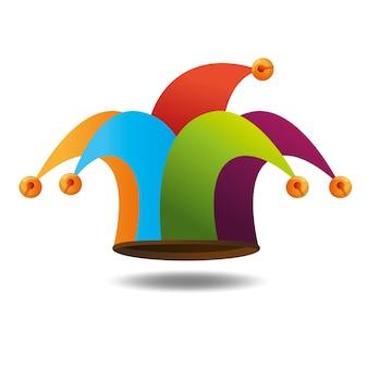 Chapeau arlequin drôle icône vector illustration design