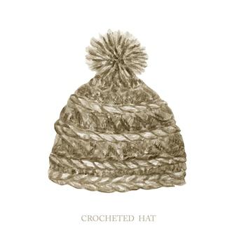 Chapeau au crochet de style scandinave. aquarelle peinte à la main hiver mignon chapeau de vêtements à tricoter avec pompon. collection d'accessoires tendance chaud isolée sur blanc. chapeau en laine dessiné à la main avec un pompon moelleux