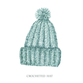 Chapeau au crochet de style scandinave. aquarelle peinte à la main hiver mignon chapeau de vêtements à tricoter avec pompon. collection d'accessoires tendance chaud isolée. chapeau en laine dessiné à la main avec un pompon moelleux