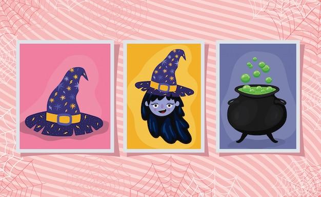 Chapeau et bol de dessin animé de sorcière halloween dans la conception de cadres, thème de vacances et effrayant