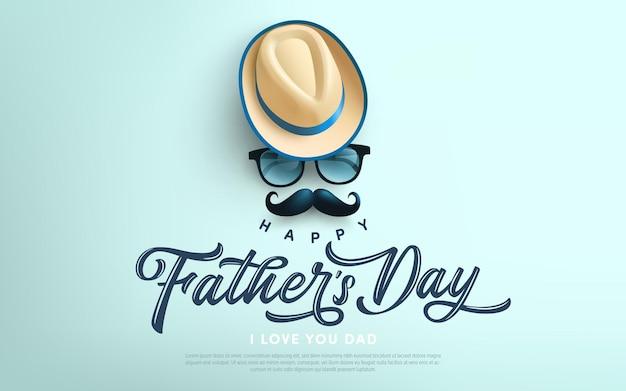 Chapeau de carte de fête des pères, moustache et lunettes de soleil. salutations et cadeaux pour la fête des pères