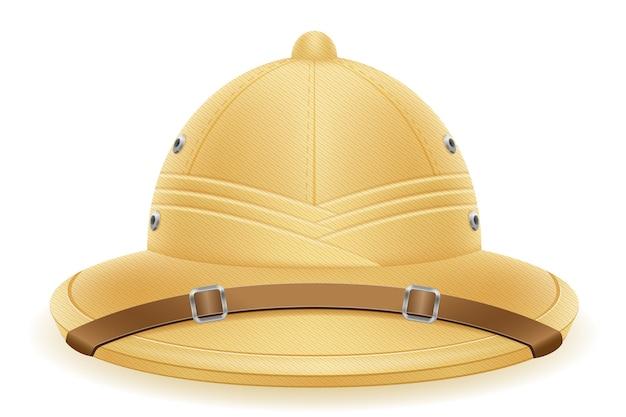 Chapeau de casque de moelle pour l'illustration de chasse et d'expéditions de tourisme isolé sur fond blanc