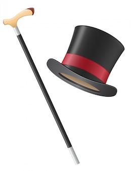 Chapeau de cylindre et illustration vectorielle de bâton de marche