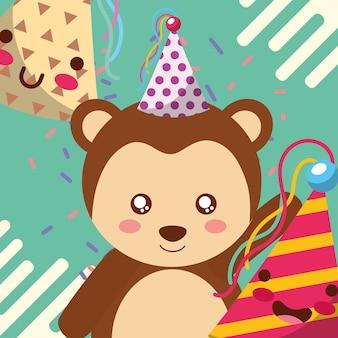 Chapeau de fête singe mignon carte de voeux joyeux anniversaire