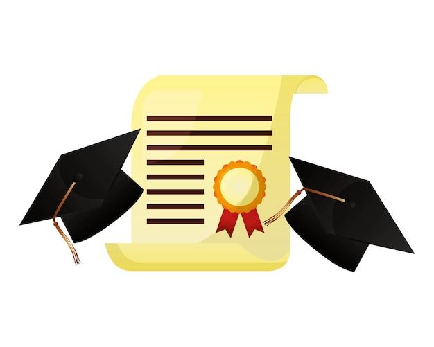 Chapeau de deux diplômés et certificat d'études